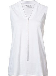 Brunello Cucinelli Sleeveless V Neck Tank White