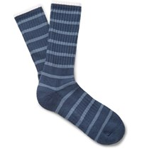 Norse Projects Bjarki Striped Ribbed Loopback Cotton Blend Socks Blue