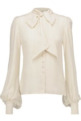 Talitha Pussy Bow Silk Crepe De Chine Blouse Ivory