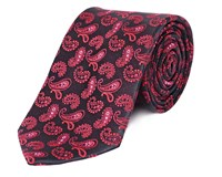 Double Two Paisley Patterned Silk Tie Red