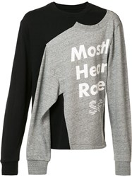 Mostly Heard Rarely Seen Logo Print Slit Sweatshirt Black