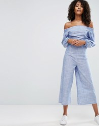 Asos Jumpsuit In Cotton Shirting And Stripe Blue And White