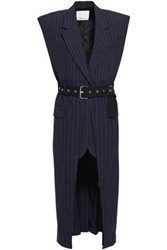 3.1 Phillip Lim Woman Belted Pinstriped Wool Gilet Navy