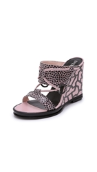 Opening Ceremony Mae Ankle Strap Wedges Blush Pink