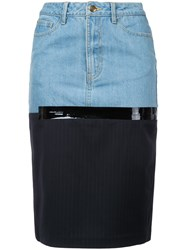 Each X Other Midi Denim Skirt Women Cotton S Blue