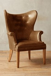 Anthropologie Premium Leather Wingback Chair Caramel