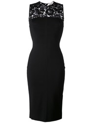 Valentino Lace Panel Fitted Dress Black
