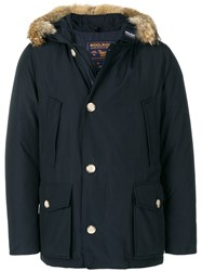 Woolrich Arctic Hooded Anorak Cotton Polyamide Coyote Fur Duck Feathers S Blue