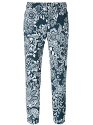 Fay Cropped Floral Trousers Blue