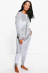 Boohoo Ivy Velour Bomber Jacket And Jogger Lounge Set Grey
