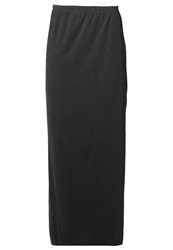 Zalando Essentials Maxi Skirt Dark Grey Melange Mottled Dark Grey