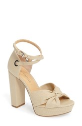 Women's By Zendaya Mission Ankle Wrap Platform Pump Dark Natural Fabric