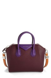 Givenchy Small Antigona Leather Satchel Red Oxblood Red