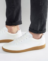 Asos Lace Up Trainers In White Faux Suede With Gum Sole White