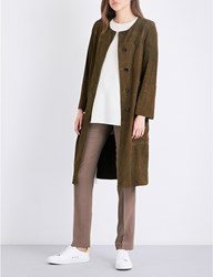 Theory Alioth Suede Coat Military