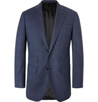 Thom Sweeney Navy Slim Fit Prince Of Wales Checked Wool Blend Suit Jacket