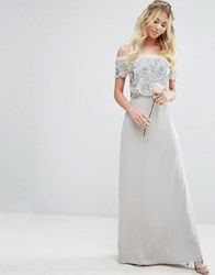 Maya Bardot Overlay Maxi Dress With Embellishment Gray