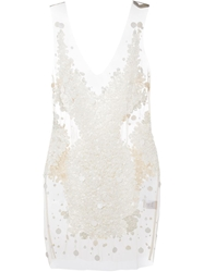 Amen Sheer Sequin Embellished Dress White