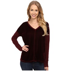 Mod O Doc Velvet Lounge Seamed V Neck Tee Burgundy Noir Women's T Shirt Brown