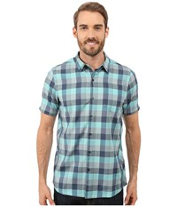 Icebreaker Departure Ii Short Sleeve Shirt Plaid Fathom Heather Shore Fossil Men's Clothing Blue