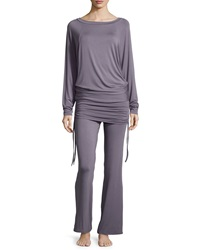 Fleurt Lounge With Me Batwing Top And Wide Leg Pant Pj Set Gray Lavender