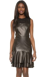 Jason Wu Leather Sleeveless Dress Black