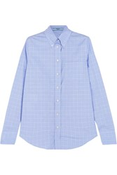 Prada Prince Of Wales Checked Cotton Poplin Shirt Light Blue