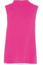 Brandon Maxwell Draped Crepe Top Fuchsia