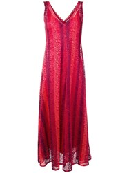 Scanlan Theodore Floral Stripe Lace Dress Red