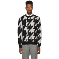 Alexander Mcqueen Black And Off White Dogtooth Jacquard Sweater
