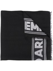 Emporio Armani Logo Embroidered Scarf Black