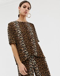 Na Kd Plisse Top With Leopard Print In Brown Co Multi