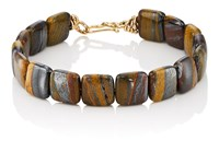 Dean Harris Tiger Iron Beaded Bracelet Brown