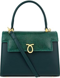 Launer Judi Leather Tote Dark Green