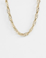 Warehouse Textured Link Chain Necklace Gold