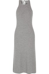 Alexander Wang T By Ribbed Merino Wool Midi Dress Gray
