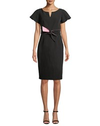 Milly Italian Cady Tina Short Sleeve Dress W Twist Detail Black Pink