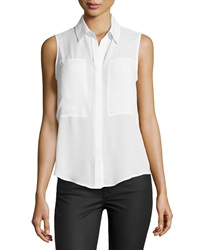 Max Studio Patch Front Sleeveless Blouse Off White