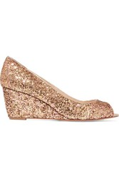 Lucy Choi London Juno Glittered Leather Wedge Pumps Gold