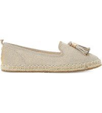 Dune Grove Tasselled Metallic Espadrille Loafers Metallic Lurex