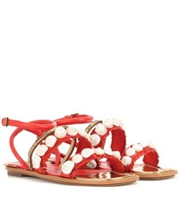 Tory Burch Sinclair Embellished Leather Sandals Orange