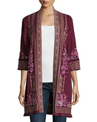 Johnny Was Laura Long Embroidered Cardigan