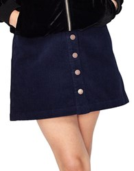 Miss Selfridge Corduroy A Line Mini Skirt Navy Blue