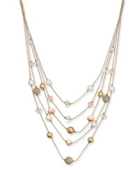 Inc International Concepts Gold Tone Stone Multi Layer Illusion Necklace 16 3 Extender Created For Macy's Gold Pink