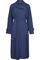 Cedric Charlier Pintucked Cotton Blend Trench Coat Navy
