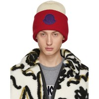Moncler 2 1952 Red And Off White Logo Beanie