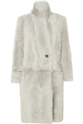 Karl Donoghue Reversible Double Breasted Shearling Coat Light Gray