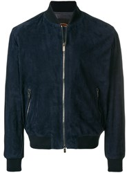 Tod's Suede Bomber Jacket Blue