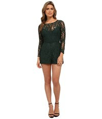 Bb Dakota Dasha Long Sleeve Lace Romper Hunter Women's Jumpsuit And Rompers One Piece Green