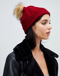 Missguided Knitted Bobble Hat In Red